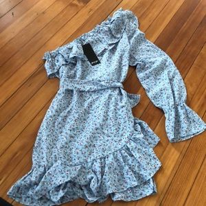 Nastygal one shoulder wrap dress